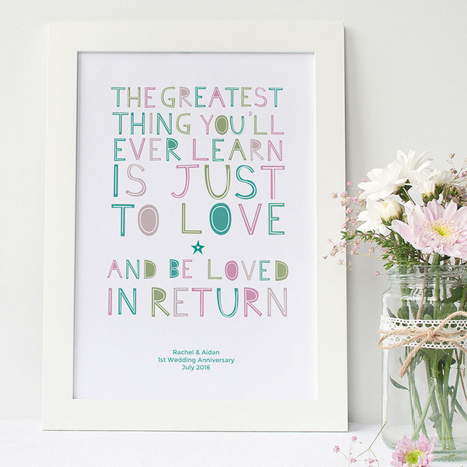 Personalised 'Love And Be Loved In Return' Print - white