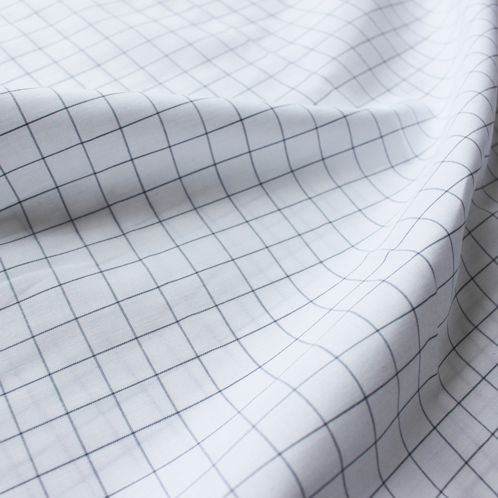 Windowpane Check Japanese Cotton Shirting White Black