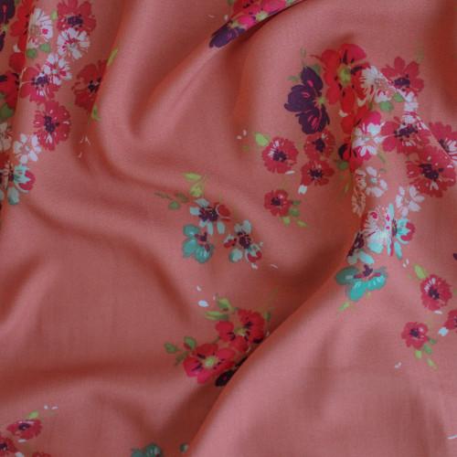 Open Floral Viscose Crepe - Coral | Blackbird Fabrics