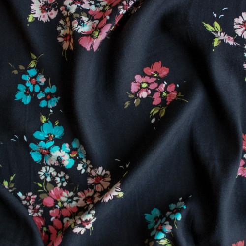 Open Floral Viscose Crepe - Black | Blackbird Fabrics