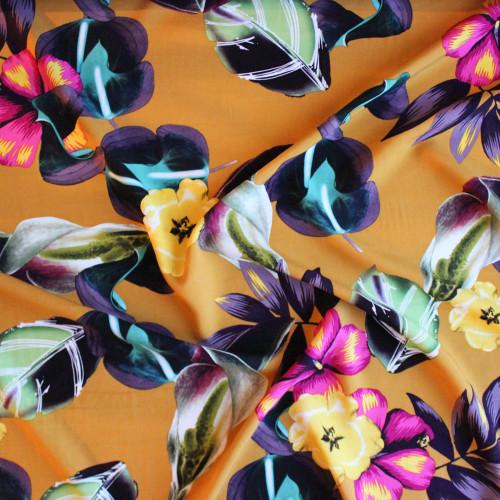 Floral Lei Viscose Poplin - Golden | Blackbird Fabrics