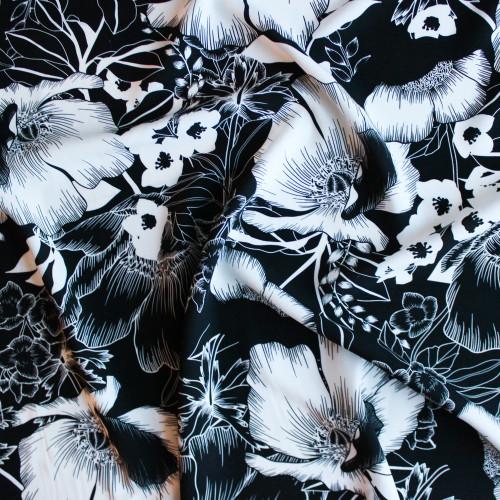 Large Scale Floral Rayon Challis - Black/White | Blackbird Fabrics