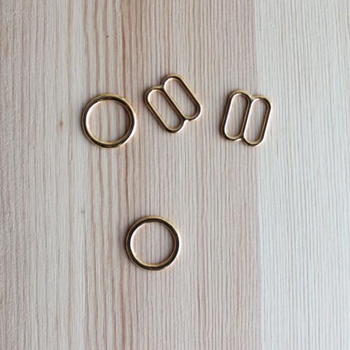 """Rings & Sliders - Gold - 3/8"""" (9mm)"""