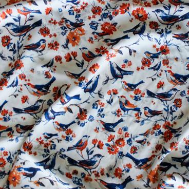 Bird Print Rayon Challis Blue Orange Cream Blackbird