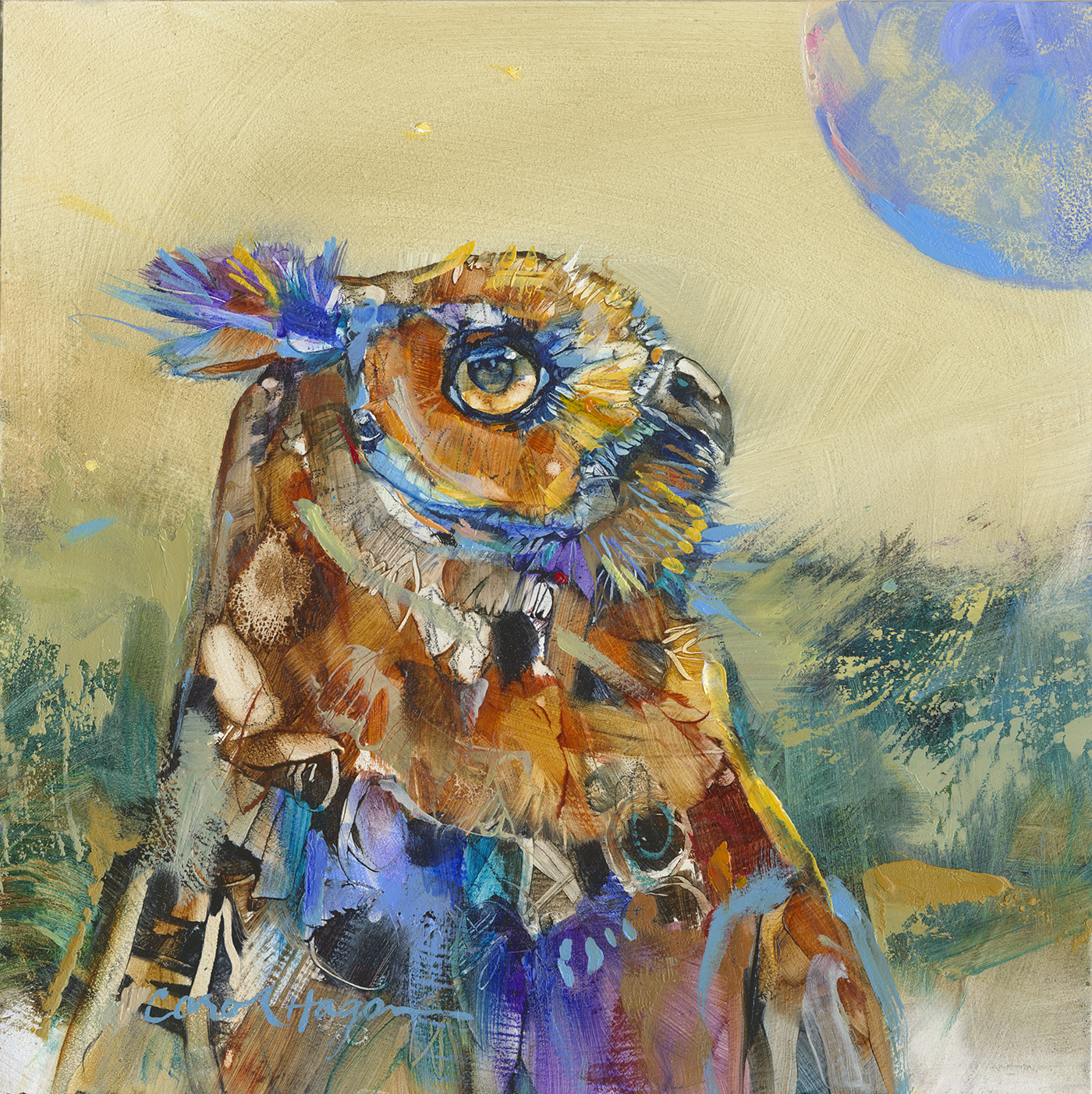 blue moon owl paintings by Carol Hagan