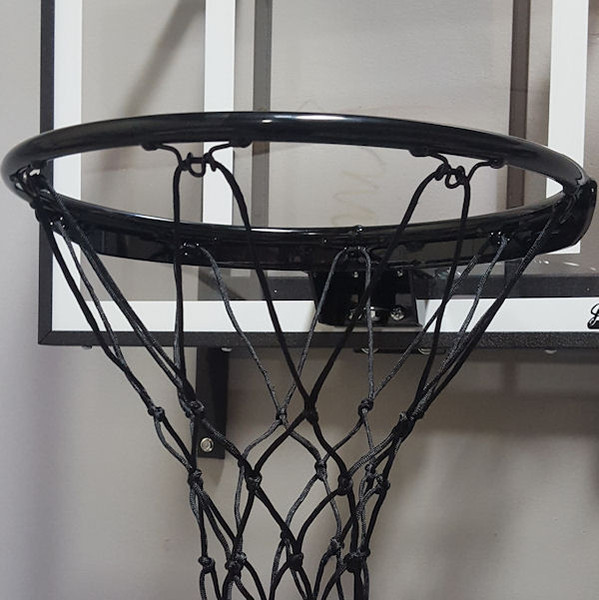 Zoomed in view of black rim and net