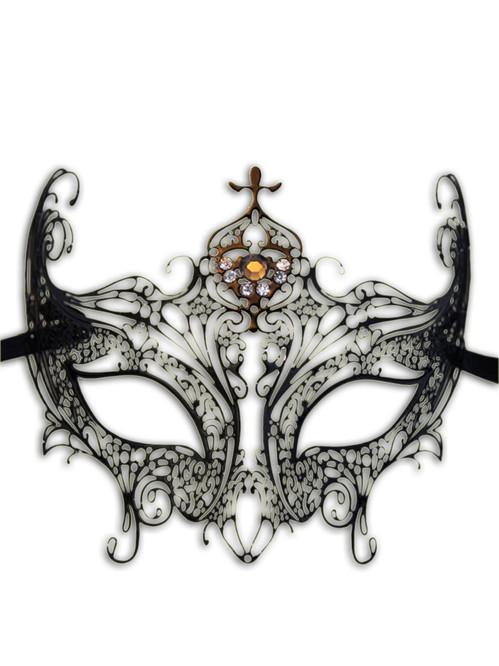 Venetian mask Colombina Metallo Onda