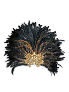 Venetian feathered mask Colombina Baroque Reale