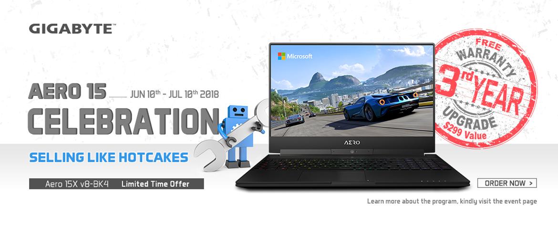 Gigabyte aero 15 laptop with free warranty 3rd year upgrade