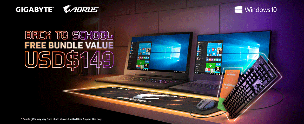 gigabyte laptop windows10 with keyboard and mouse on Back to school free bundle promotion