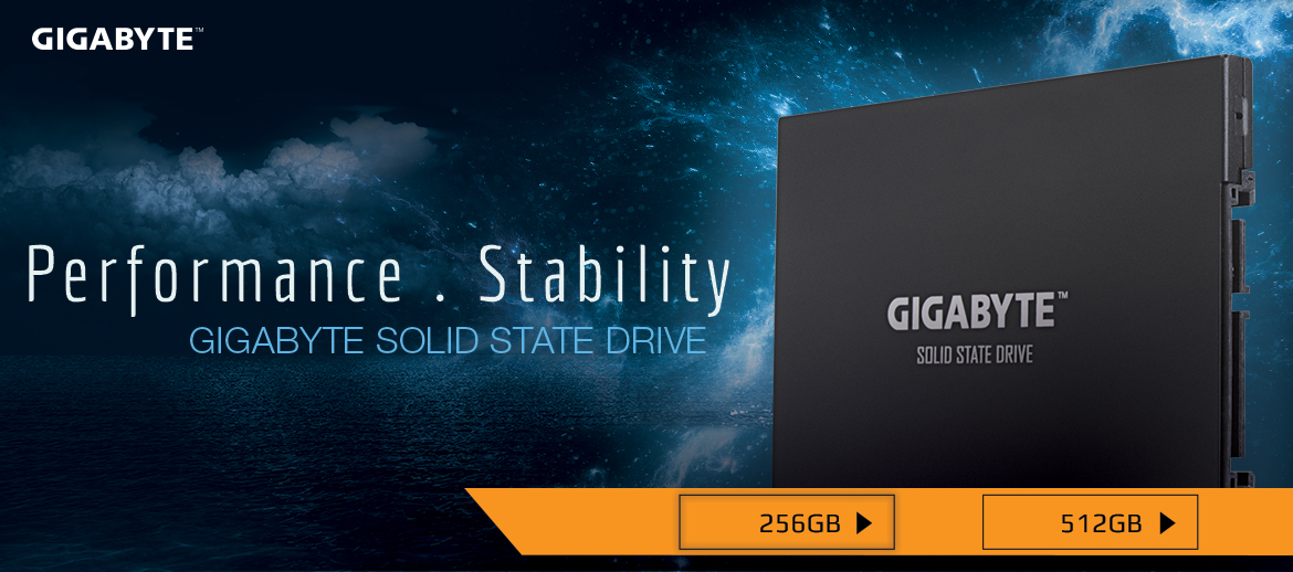gigabyte internal ssd, solid state drive product with dark sky background
