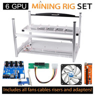 AAAwave mining set - Case + 4 x Artic fan + 6 PCI-E Version 007+ Dual Power Supply Rig
