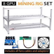 AAAwave Mining Frame 8 GPU  +FAN ARCTIC F12 TC x 6 + Dual power supply rig - cables &adapters
