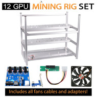 AAAwave Mining Case 12 GPU+FAN SCYTHE 1900 RPM x 10 +Dual power supply rig - cables &adapters