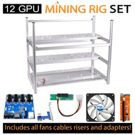 AAAwave Mining Case 12 GPU+FAN ARCTIC x 10 + PCI RISERx 12 + Dual power supply rig - cables &adapters …