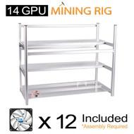 AAAwave Mining Case 14 GPU+FAN ARCTIC F12 TC Cooling AFACO-120T0-GBA01+ PCI RISER x 14 åäÌÝ_