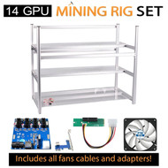 AAAwave Mining Case 14 GPU+FAN ARCTIC F12 TC x 12 + Dual power supply rig - cables &adapters …