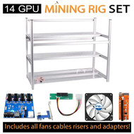 AAAwave Mining Case 14 GPU+FAN ARCTIC F12 x 12+ PCI RISER x 14+ Dual power supply rig - cables &adapters