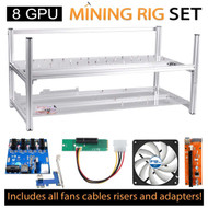 AAAwave Mining Case 8 GPU+FAN ARCTIC F12 TC Cooling AFACO-120T0-GBA01 by ARCTIC x6 + PCI RISER X 8+ Dual Power Supply Rig