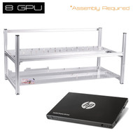"""AAAwave 8GPU - Stackable with Fan Fixing Parts 8 Graphics Card Computer Case BTC LTC Coin Mining Case Server Chassis + HP SSD S700 2.5"""" 120GB SATA III"""