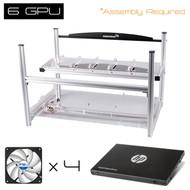 "AAAwave 6 GPU open frame mining rig case set - Case + 4  x Arctic fan + HP SSD S700 2.5"" 120GB SATA III"
