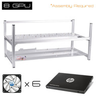 "AAAwave 8 GPU open frame mining rig case set - Case + 6  x Arctic fan + HP SSD S700 2.5"" 120GB SATA III"