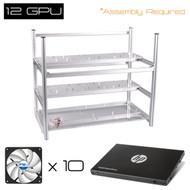 "AAAwave 12 GPU open frame mining rig case set - Case + 10  x Arctic fan + HP SSD S700 2.5"" 120GB SATA III"