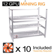 AAAwave 12 GPU open frame mining rig case set - Case + 10 x AAAwave 2100 rpm fan / Ethereum Zcash Litecoin