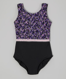 Purple-pink ribbon ballet leotard