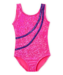 Hot Pink Hologram Striped Leotard