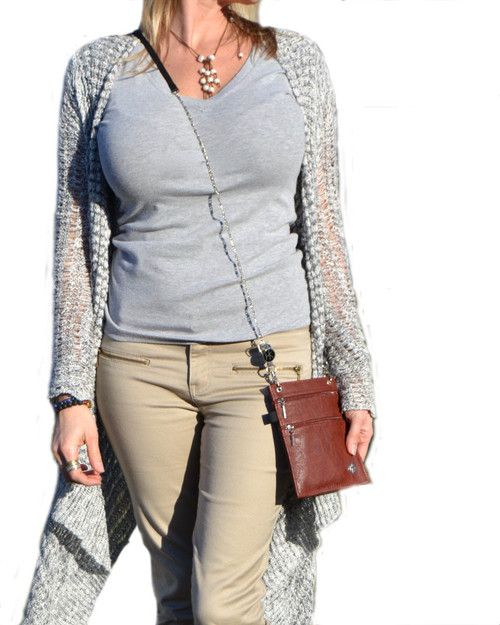 """Crossbody: This strap can be used as a crossbody. The total length of this strap is 52"""" (The Hip Klips add an additional 2"""" to the length). Model is 5'6"""" and has the strap extended to 48""""."""