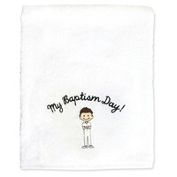 My Baptism Day Boy Towel Brown