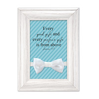 Baby Boy Blessing Gift Frame with Bow Tie Keepsake