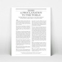 """5x4"""" print of The Proclamation to the World."""