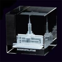 Bountiful Utah Temple Crystal Cube