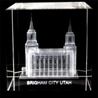 Brigham City Utah Temple Crystal Cube