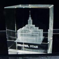 Draper Utah Temple Crystal Cube