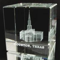 Houston Texas Temple Crystal Cube