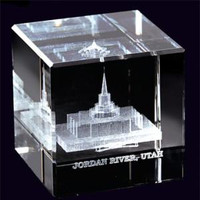 Jordan River Utah Temple Crystal Cube