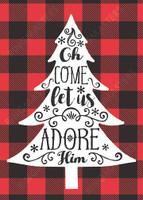 Adore Him Plaid Christmas Card