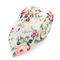 "Floral Red & White 2.5"" Cotton Slim Tie"