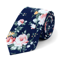 "Floral Navy 2.5"" Cotton Slim Tie"