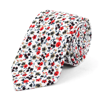 "Floral White & Red 2.5"" Cotton Slim Tie"