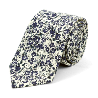 "Floral Ivory & Navy 2.5"" Cotton Slim Tie"