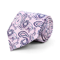 Microfiber Poly Woven Tie Pink Paisley