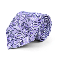 Microfiber Poly Woven Tie Lavender Paisley