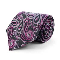 Microfiber Poly Woven Tie Black Paisley