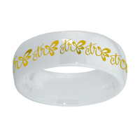 "'Halo"" White Diamond Ceramic W/ gold inlay"