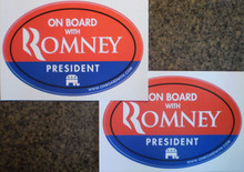 """2 PACK - """"ON BOARD WITH ROMNEY"""" 4x6 Inch Oval Bumper Stickers"""