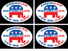 "4 PACK - ""AMERICAN, REPUBLICAN, YES WE CAN!"" 4x6 Inch Political Bumper Stickers"